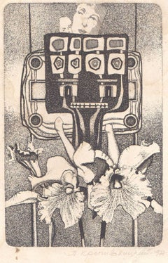 Robot and orchids. 1977, paper, etching, 16x10 cm