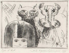 The girl, cat and cow. 1975, paper, etching, 8,5x10,5 cm