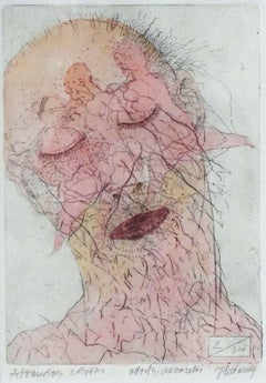 Sleeping man. 2000. Paper, etching, watercolor, 19x13 cm