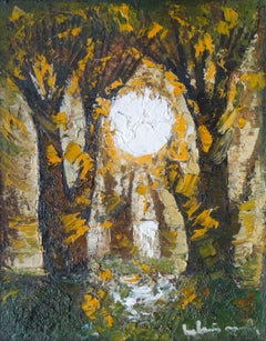 The sun. 1980. Cardboard, oil, 30x24 cm