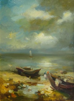Boats by the sea. 1990. Cardboard, oil, 60x45 cm