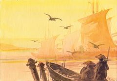 Sunset. 1975. Watercolor on paper, 14,5x22,7 cm