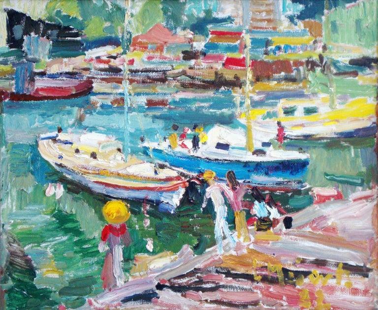 Meilerts-Krastins Ludmilla Landscape Painting - Harbor Melbourne. 1982, oil on canvas, 50x60 cm