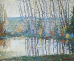 Landscape with birches. 1960s. Oil on canvas, 52x62 cm