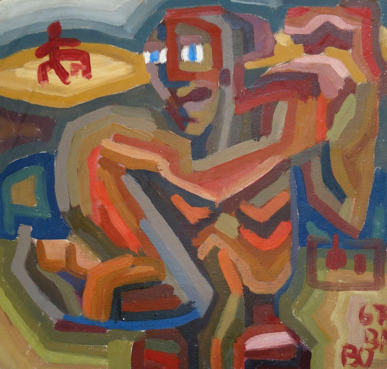 Running. 1967. Double-sided, cardboard, tempera, 37.5x39 cm