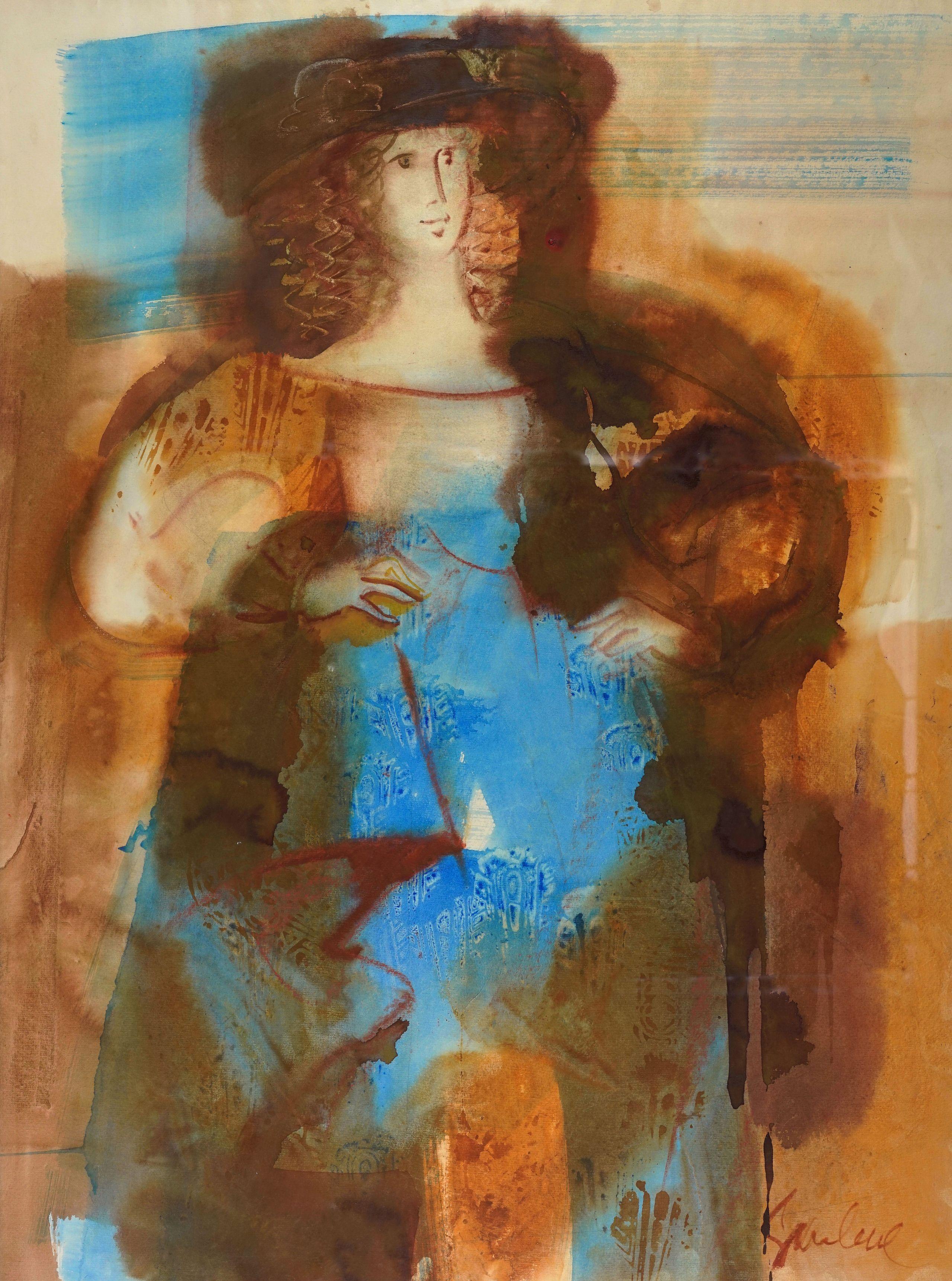 Lady in blue. 1982. Paper, watercolor, 100x73 cm