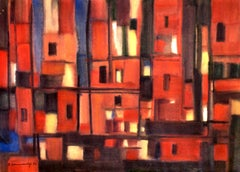 Houses of town. 1972, watercolor on paper, 55x75,5 cm