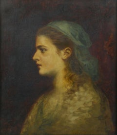 Young girl portrait. Late 19th Century. Oil on canvas, 55,5x46 cm