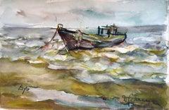 Fishing boat. 1980. Paper, watercolor, 36.5x55 cm
