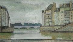 At the Seine. 1996. Paper, pastel, 24x41 cm