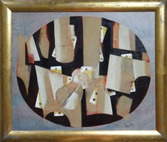 Inverted glass. 1998, oil, collage on cardboard, 45x59 cm