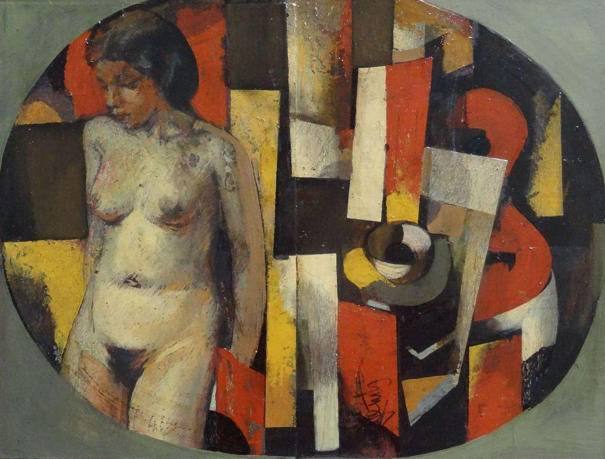 Dedication to artist Konrads Ubans. 1997, oil on cardboard, 30x38 cm