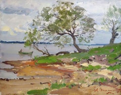 Daugava river. 1950, oil on cardboard, 46x37 cm