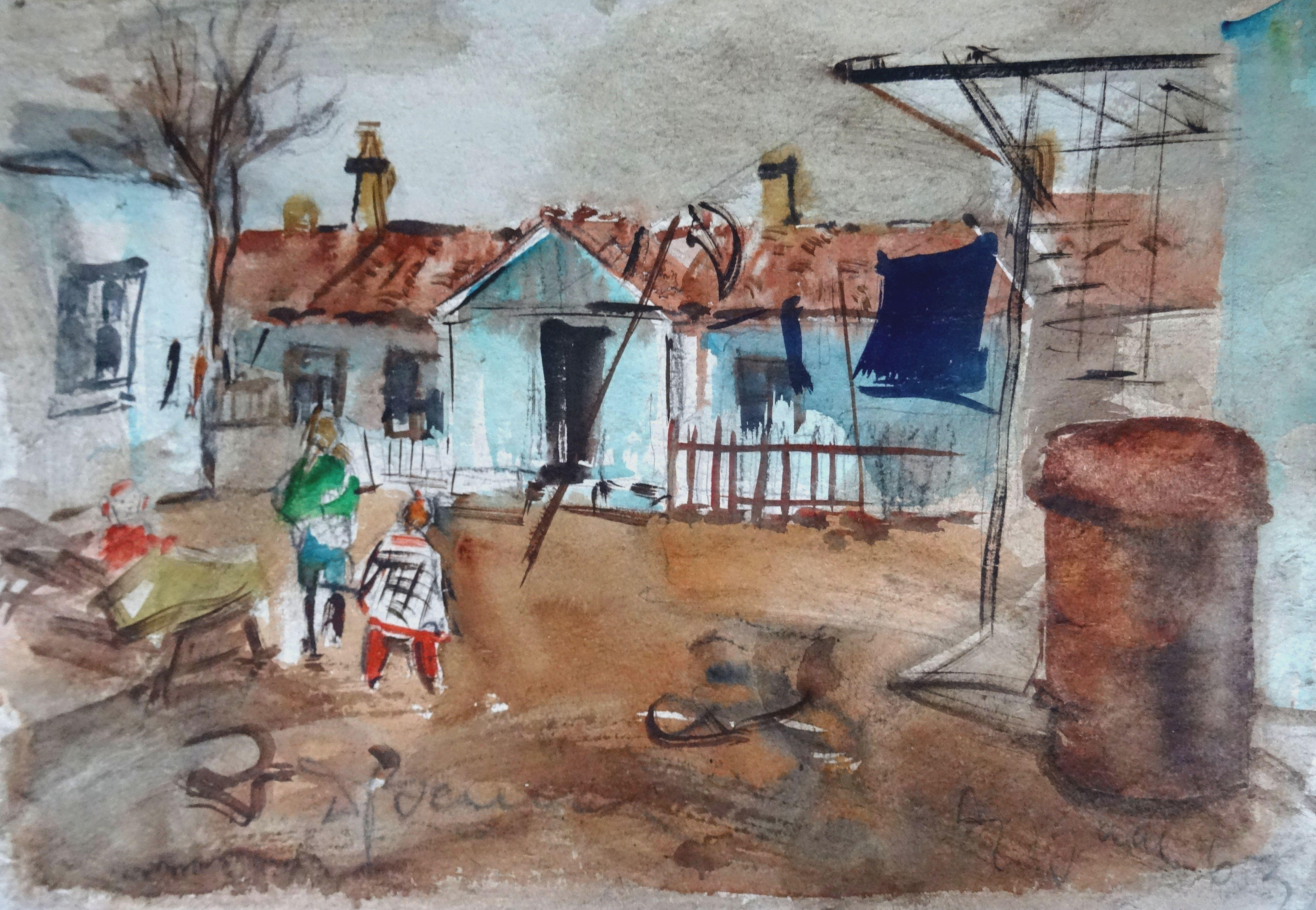 Suburb. 1963, watercolor on paper, 27x38 cm