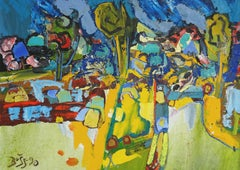 Village. 1990. Oil on canvas, cardboard, 50x70 cm