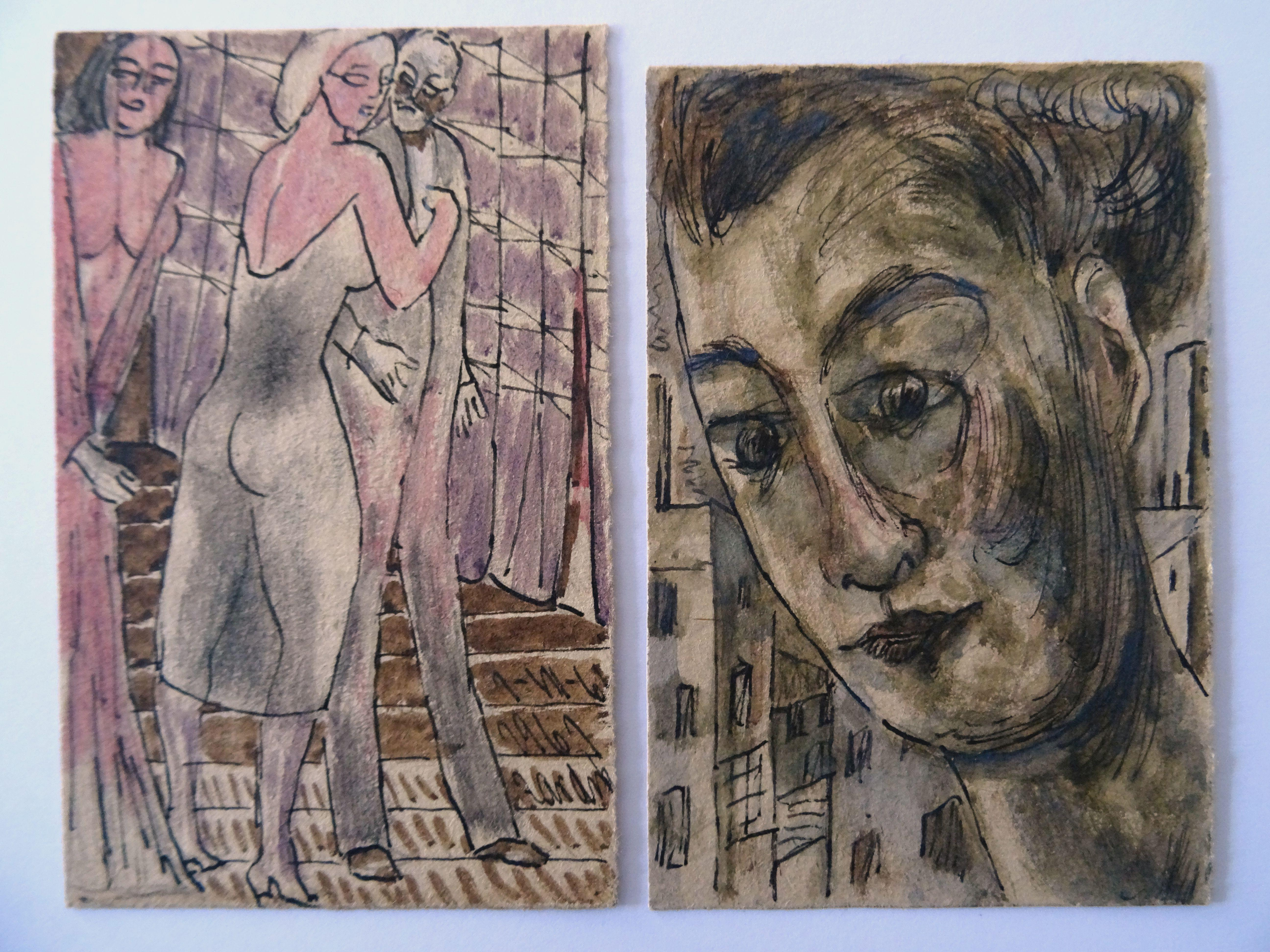 Heights & fast sketch. 1961. Paper, mixed media, 9,5x6 cm; 9x6cm