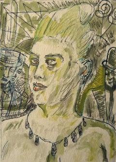 At night. 1961. Paper, mixed media, 14x10 cm