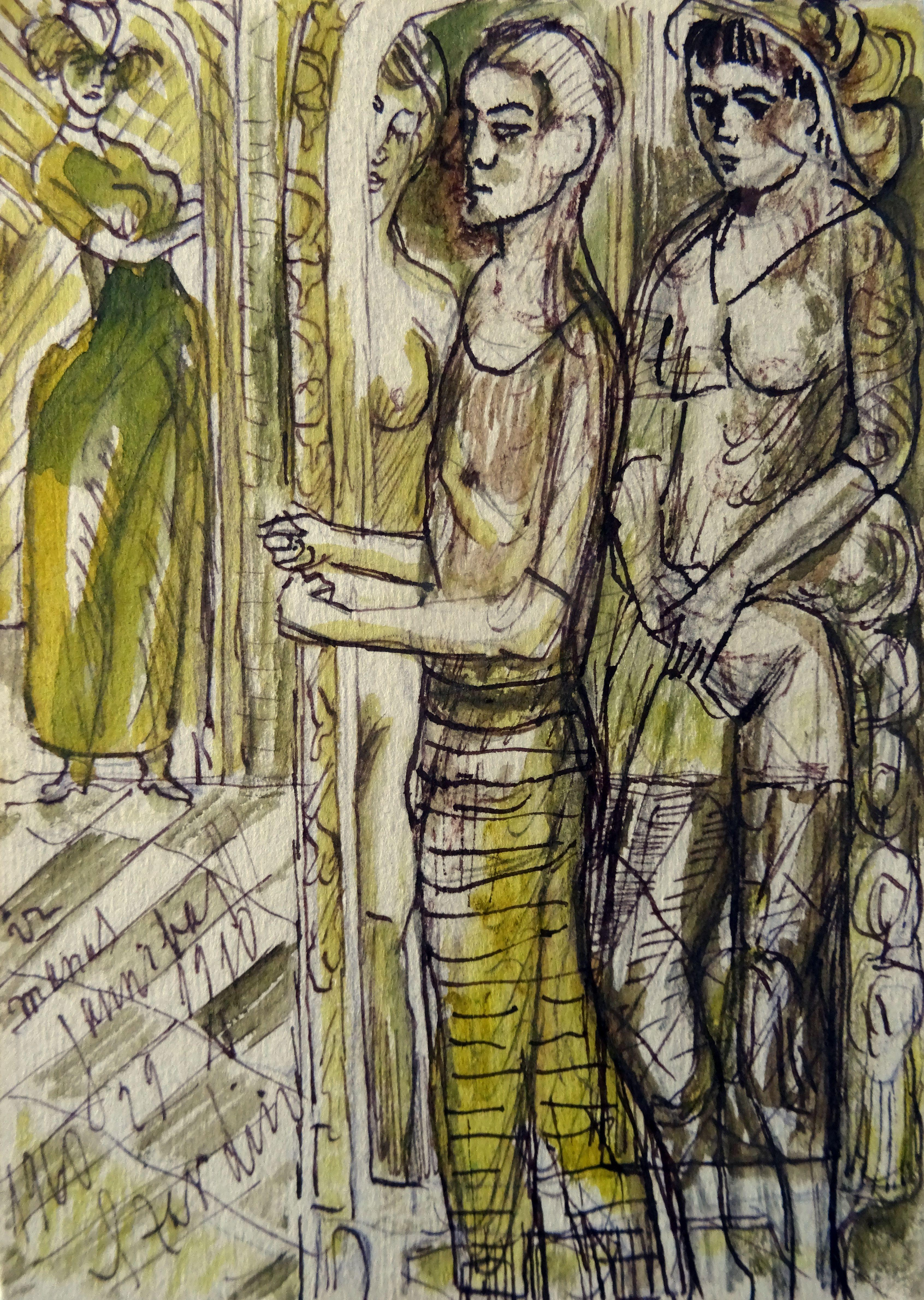 Youth. 1961. Paper, mixed media, 14x10 cm