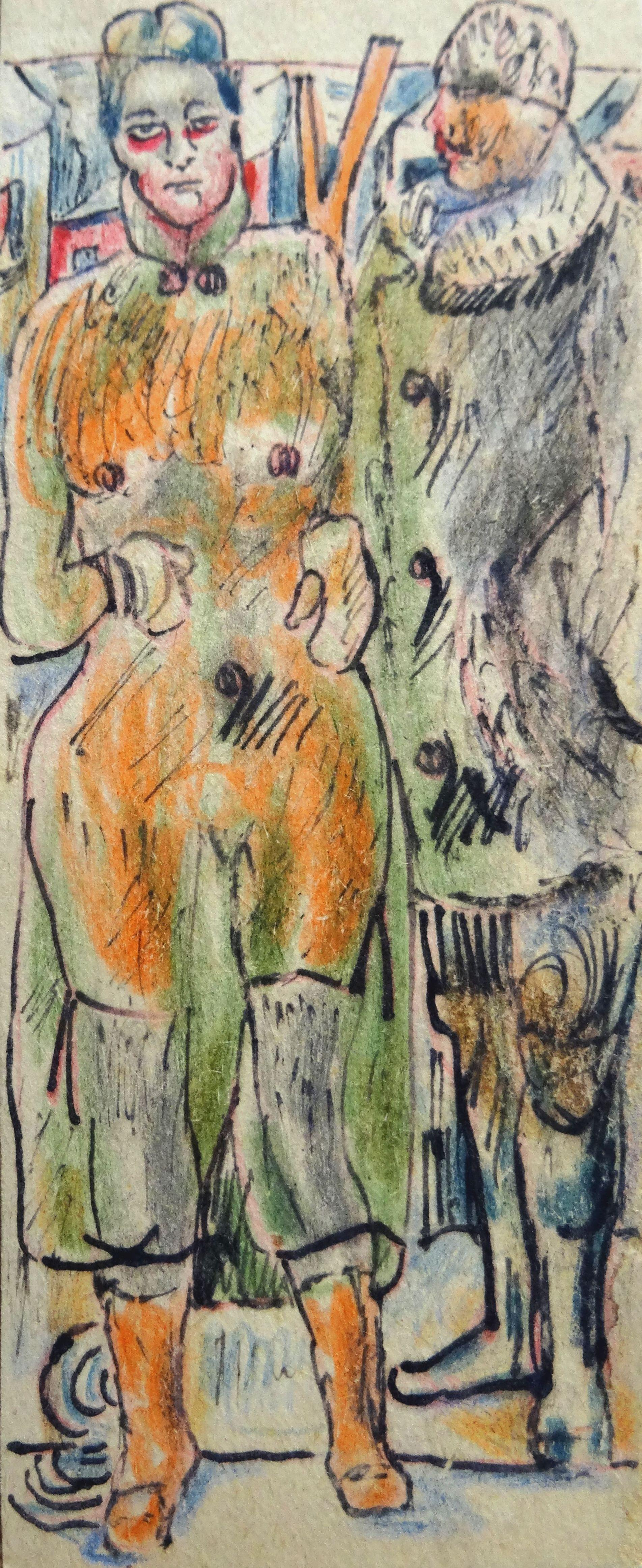 Mr Millerson with Mrs. 1959. Paper, mixed media, 16x6.5 cm