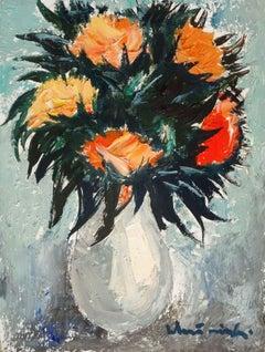 Flowers. 1995, cardboard, oil, 50x38 cm