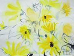 Yellow flowers at Tuileries garden. 2010. Watercolor on paper, 24x50 cm