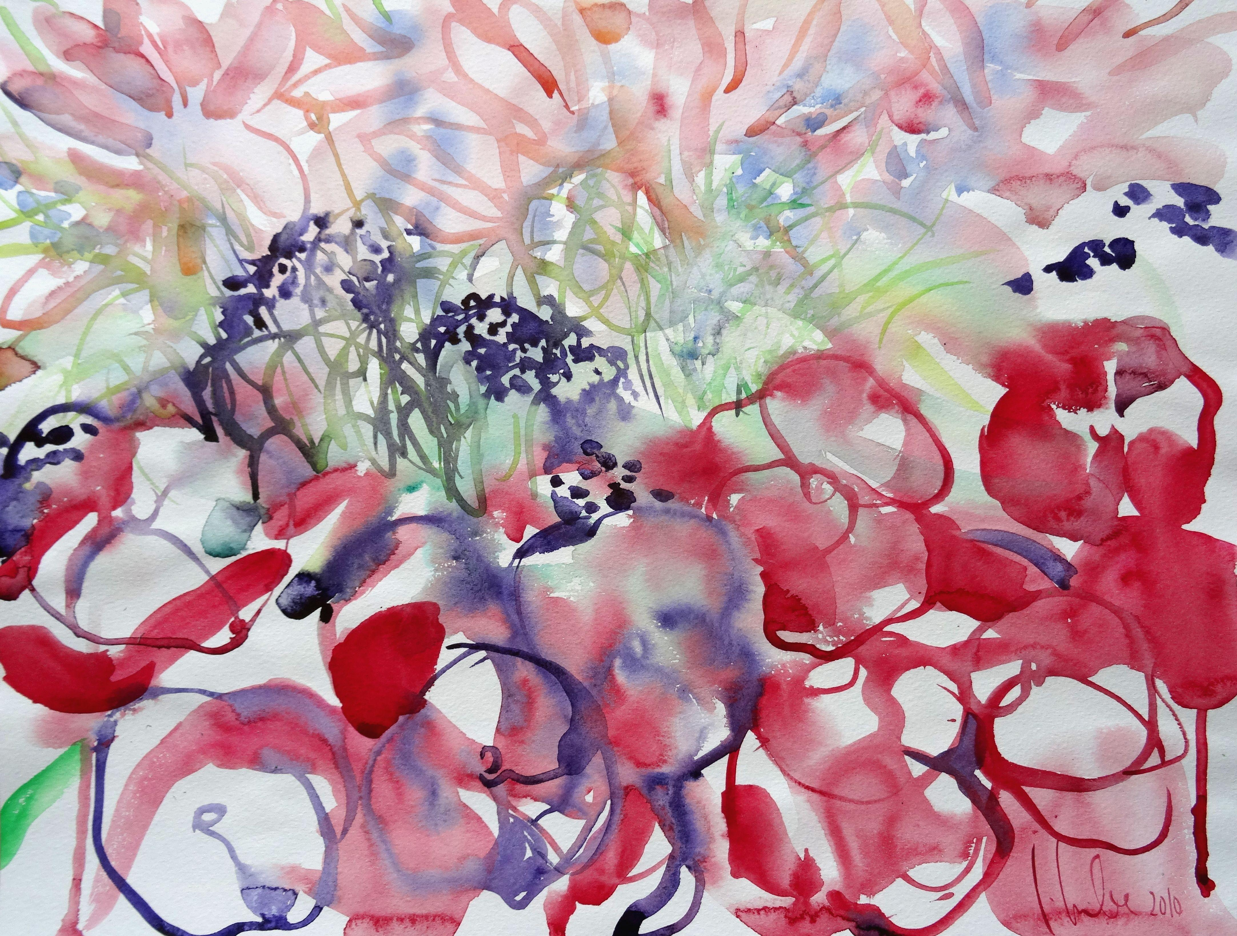 Pink Flowers at Luxembourg Garden Paris. 2010. Watercolor on paper, 38x50 cm