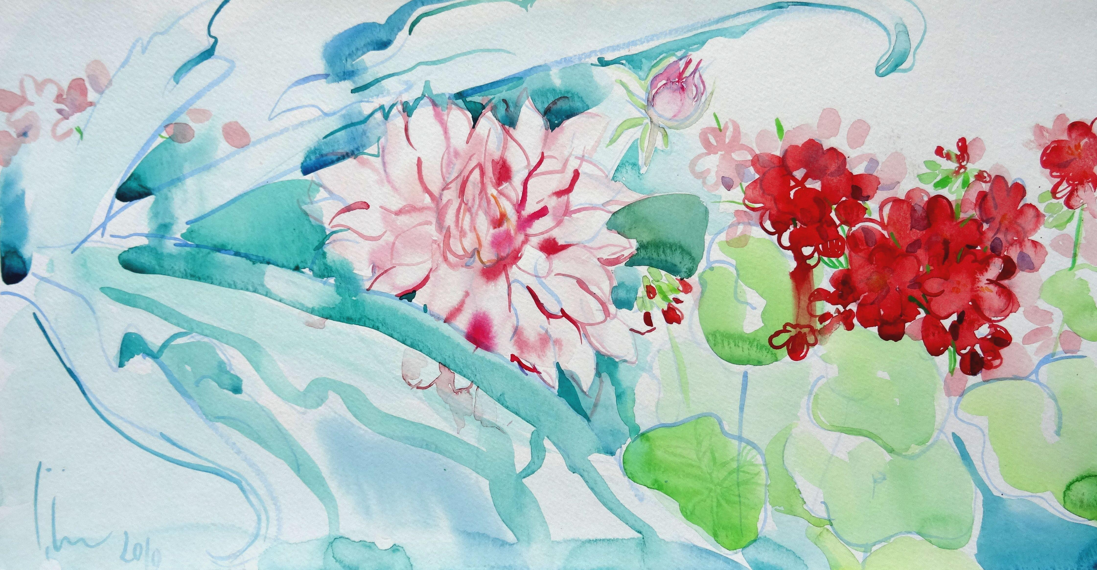 Flowers Luxembourg Garden Paris. 2010. Watercolor on paper, 26x50 cm