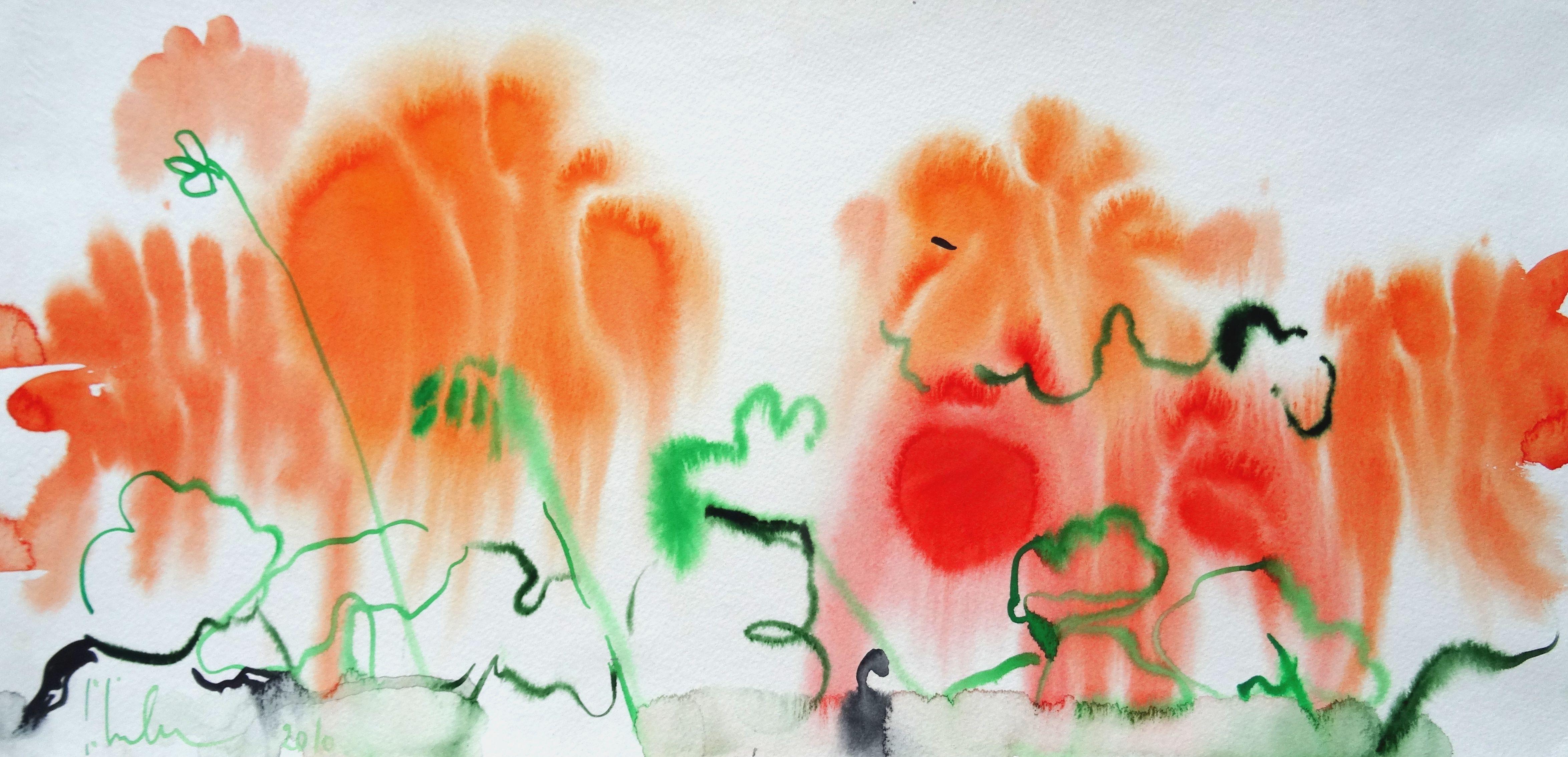 Orange flowers at Tuileries Garden. Paris 2010. Watercolor on paper, 24x50 cm
