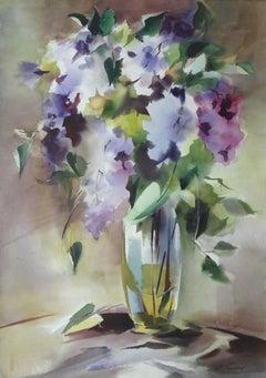 Flowers in a vase. 2020. Watercolor, paper, 71 x 51 cm