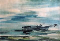 Boats at seashore. 1978, watercolor on paper, 41x59 cm