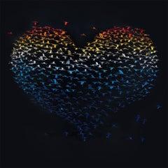 """""""Birds Heart"""", 3D Mixed Medium Metal Wall Sculpture"""