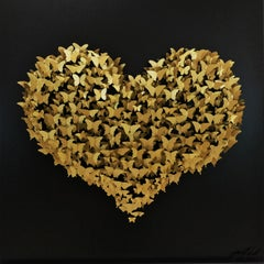 """Flying Love"", 3D Mixed Media Metal Wall Sculpture"