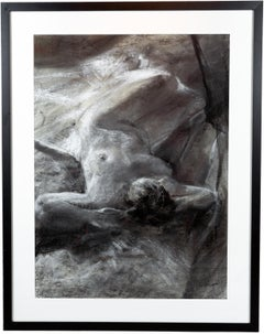 'Female Nude in Repose,' Charcoal and Conté Drawing on Paper by Paul Wingo
