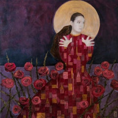 'Roses and Moonlight,' Acrylic Painting and Collage by Paul Medina