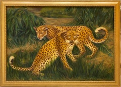 'Cheetahs on the Hunt Savannah Landscape' Oil on Canvas Painting by V. Reed