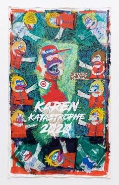 'Karen Katastrophe 2020', Screen Print with Oil Stick on canvas by XVALA