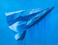 'Big Blue Paper Airplane,' Acrylic and Alkyd on Canvas, by Paul Micich