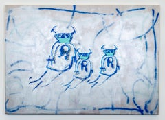 'Rona Bots: Silver Edition,' Pandemic Collection, Mixed Media on Canvas by XVALA