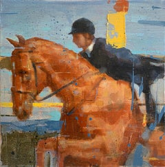 'Rider at Sunset' Equestrian and Horse Oil on Canvas Painting by Chris Brizzard