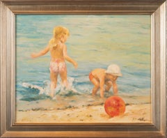 'At the Beach' Scene of Children Playing, Marie Stobbe, Oil on Masonite Painting