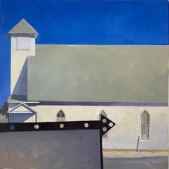 'White Country Church in McCloud,' by John Wolfe, Acrylic on Panel Painting