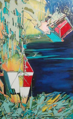 'Falling Off the Radar' by Janice Tayler, Oil & Mixed Media Painting
