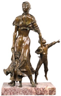 'Pioneer Woman & Children,' Bronze and Marble Sculpture by Harold Castor