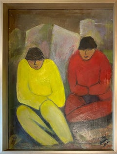 'Chinese Modernist Scene of Two Male Figures,' Oil on Canvas by H. Xumo