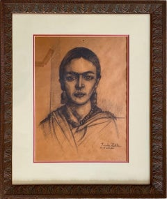 'In the Study - Self Portrait of Frida Kahlo,' Charcoal Drawing, Unknown