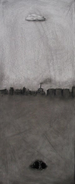 'Cloud Cave' Monochromatic Urban Landscape by Marc Barker, Oil on Panel Painting