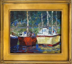 'Sailboats at Bay' by Jim Cobb, Oil on Canvas Board Painting