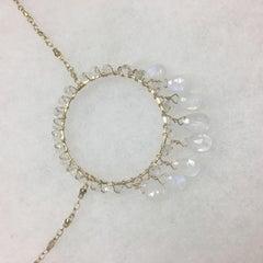 Moonstone Circle Fringe Necklace