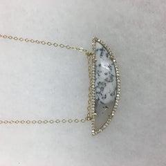 Dendritic Opal Half Moon Necklace