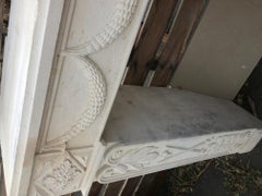 Antique French Limestone Fireplace, Louis XVI Style